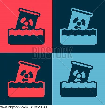 Pop Art Radioactive Waste In Barrel Icon Isolated On Color Background. Toxic Waste Contamination On