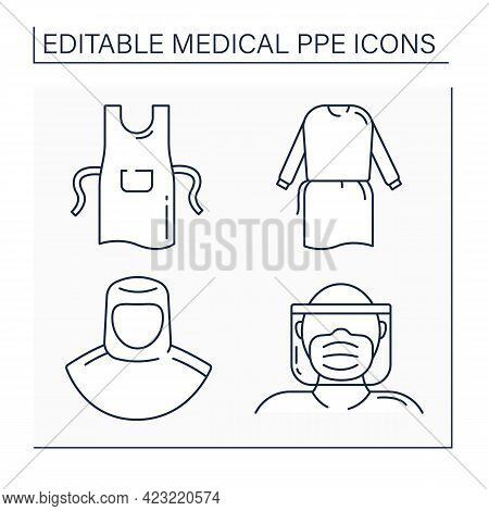 Medical Ppe Line Icons Set. Full Protection, Apron, Face Shield, Isolation Gown. Barrier Between Per