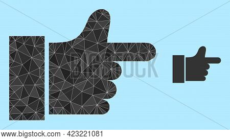 Low-poly Index Finger Icon On A Sky Blue Background. Polygonal Index Finger Vector Constructed With
