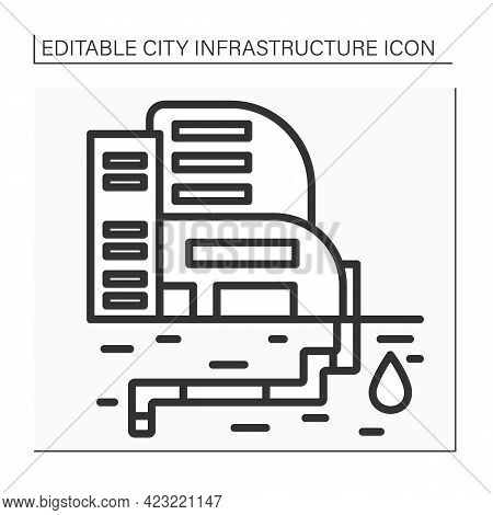 Water Supply Line Icon. Public Utility Providing Water Through System Of Pumps And Pipes. Urban Reso