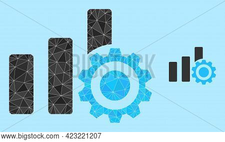 Lowpoly Bar Chart Settings Icon On A Sky Blue Background. Polygonal Bar Chart Settings Vector Is Con