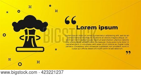 Black Nuclear Explosion Icon Isolated On Yellow Background. Atomic Bomb. Symbol Of Nuclear War, End