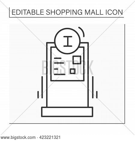 Information Stand Line Icon. Clearly Displays Information Or Directions. Pointer. Shopping Mall Conc