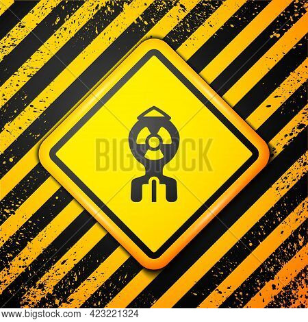 Black Nuclear Bomb Icon Isolated On Yellow Background. Rocket Bomb Flies Down. Warning Sign. Vector