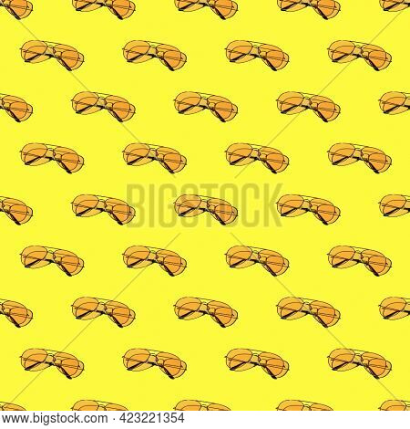 Seamless Looping Pattern With Yellow Sunglasses On A Yellow Background. Hard Shadows From The Sun At