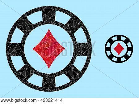 Lowpoly Diamonds Casino Chip Icon On A Light Blue Background. Polygonal Diamonds Casino Chip Vector