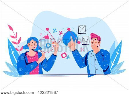 Financial Management And Business Analytics Banner With Business People At Backdrop With Diagrams An