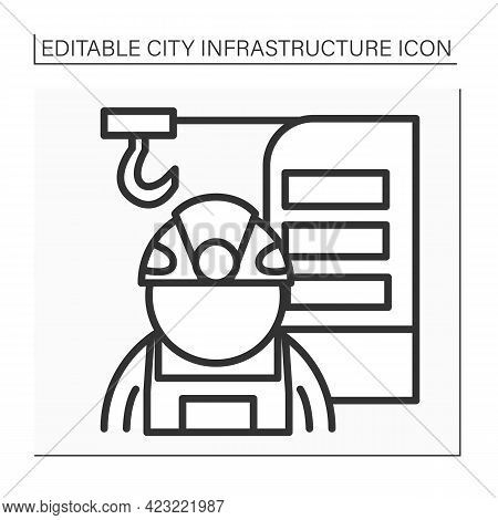 Structural Engineer Line Icon. Engineer Analyze, Design, Plan, And Research Structural Components To