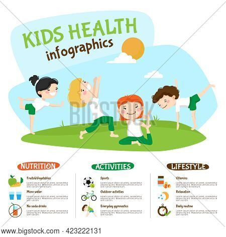 Healthy Lifestyle Tips For Kids Infographic Poster Webpage With Children Practicing Yoga Outdoors Fu