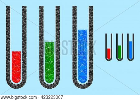 Lowpoly Analysis Test Tubes Icon On A Sky Blue Background. Polygonal Analysis Test Tubes Vector Is D