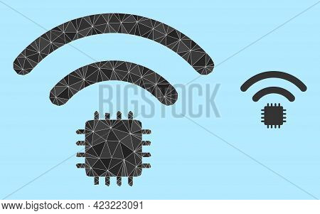 Lowpoly Radio Sensor Icon On A Light Blue Background. Polygonal Radio Sensor Vector Combined Of Chao