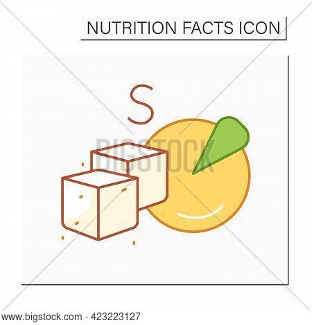 Total Sugar Color Icon. Sugar Carbohydrate. Macronutrients. Nutrition Facts. Healthy, Balanced Nutri