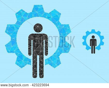 Lowpoly Human Resources Icon On A Light Blue Background. Polygonal Human Resources Vector Filled Wit