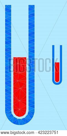 Lowpoly Blood Test Tube Icon On A Sky Blue Background. Polygonal Blood Test Tube Vector Is Filled Wi