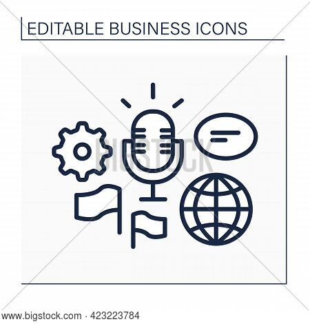 Global Forum Line Icon. Representing New Business Ideas On International Forum. Communication And Di