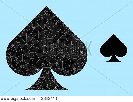 Lowpoly Playing Card Spade Suit Icon On A Light Blue Background. Polygonal Playing Card Spade Suit V