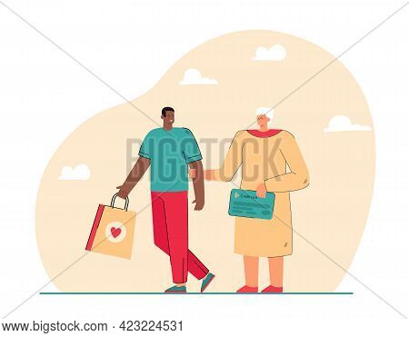 Grandmother Holding Credit Card And Grandson Purchase Package. Old Woman Walking With Child After Sh