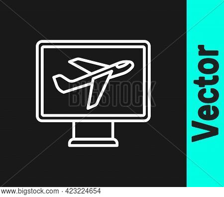 White Line Plane Icon Isolated On Black Background. Flying Airplane Icon. Airliner Sign. Vector