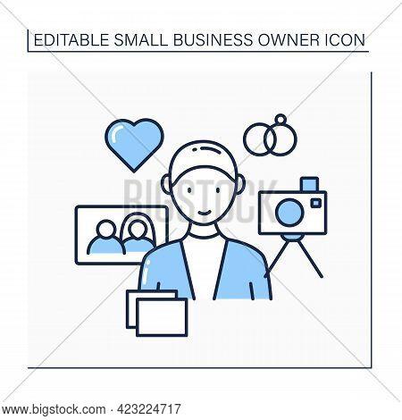 Wedding Photographer Line Icon. Individual Entrepreneur. Man Take Photos For Couples. Small Business