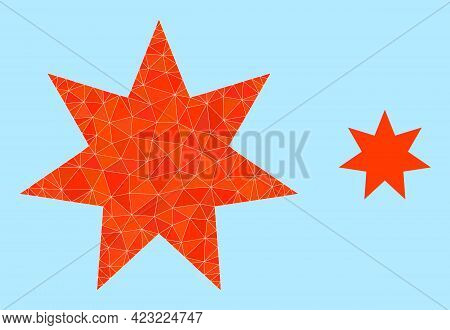 Low-poly Seven Pointed Star Icon On A Sky Blue Background. Polygonal Seven Pointed Star Vector Combi