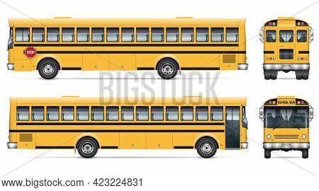 School Bus Vector Mockup. Isolated Template Of Schoolbus On White For Vehicle Branding, Corporate Id
