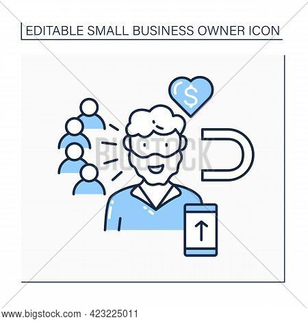 Influencer Line Icon. High Influence On Audience. Blogger Attract New Subscribers. Keep Money From A