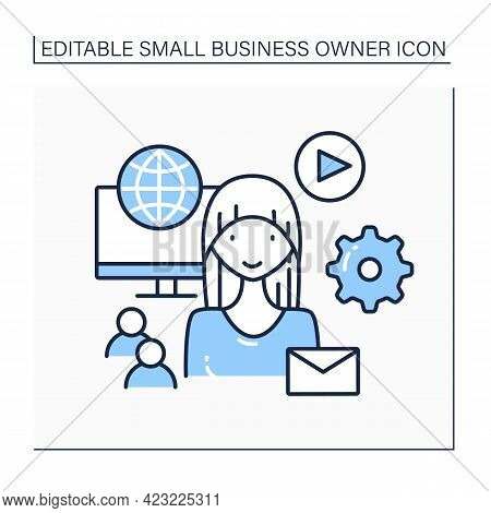 Social Media Manager Line Icon. Smm. Promotion Of Companies.solving Business Problems.marketer, Cust
