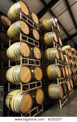 Wine Barrels Angled View