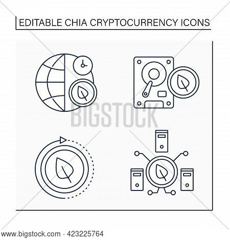 Chia Cryptocurrency Line Icons Set.current Netspace, Chia Plot, Install. Digital Money Concept.isola