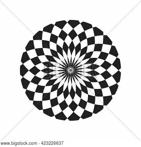 Monochrome Elegant Circular Pattern In Black And White. Circular Mathematical Ornament. A Vector Cir