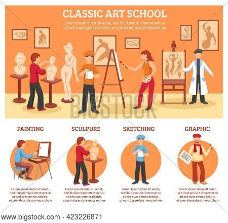 Classic Art Infographic Set With Painting And Sculpture Flat Vector Illustration