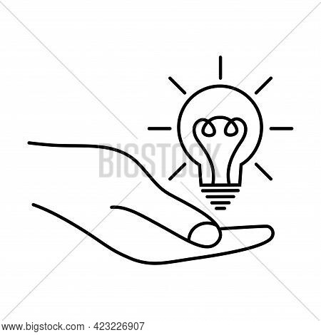 Light Bulb In The Hand. Concept Of Ideas, Inspiration, Effective Thinking. Idea Sign, Solution, Thin
