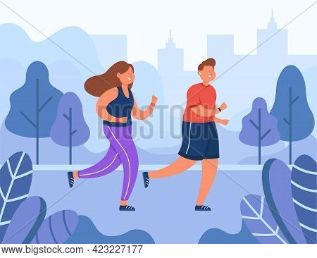 Happy Couple Running In Park In Summer Morning. Man And Woman Jogging Together. Healthy Lifestyle, F