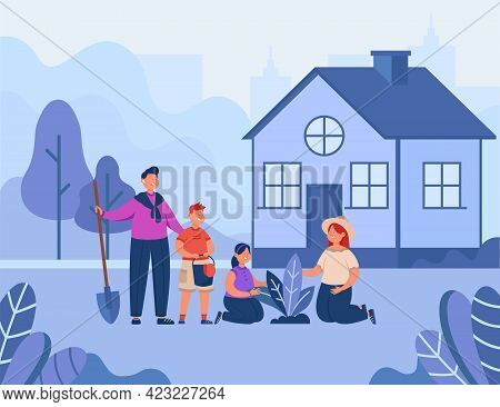 Family Gardening Vector Illustration. Father, Mother And Two Children Planting Outdoor. Summer Day,