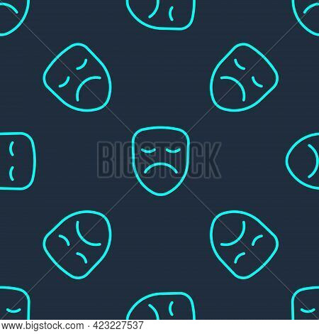 Green Line Drama Theatrical Mask Icon Isolated Seamless Pattern On Blue Background. Vector