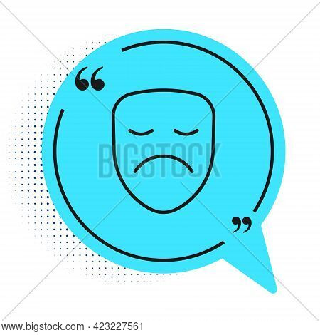 Black Line Drama Theatrical Mask Icon Isolated On White Background. Blue Speech Bubble Symbol. Vecto