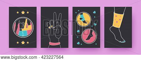 Set Of Contemporary Art Posters With Injury Treatments. Arm, Leg And Foot Injuries Vector Illustrati