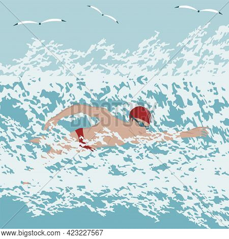Swimmer With Glasses And A Cap. Big Sea Waves, Seagulls - Vector. Water Sports. Leisure. Seascape.