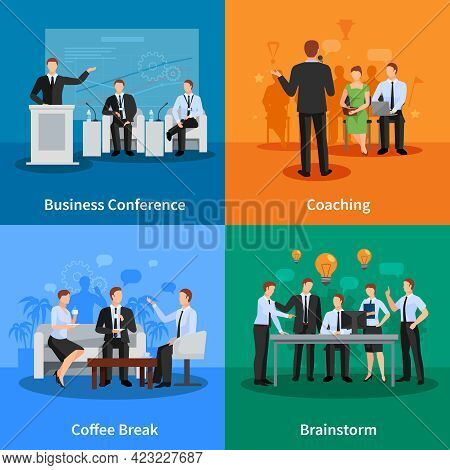 Business Conference Concept. Business Meeting Vector Illustration. Conference Flat Icons Set. Confer