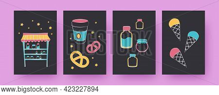 Set Of Contemporary Art Posters With Different Desserts. Coffee Cup, Ice Cream Cones, Bagels Vector