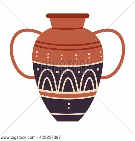 Egyptian Clay Vase With Old Ornament Vector Illustration