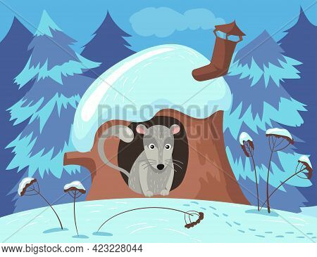 Cute Rodent Character Hiding In Tree House In Winter. Grey Animal In Hollow In Trunk, Snowy Forest,