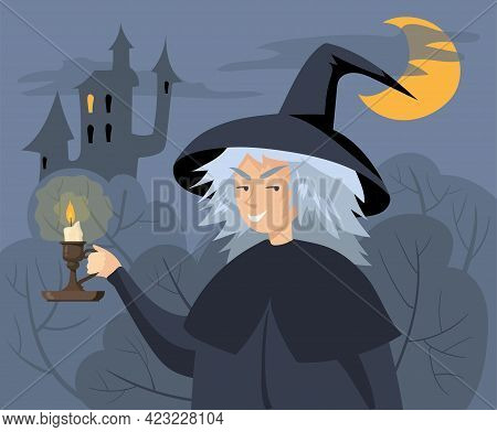 Evil Cartoon Witch Holding Candlestick Vector Illustration. Old Woman In Hat With Burning Candle In