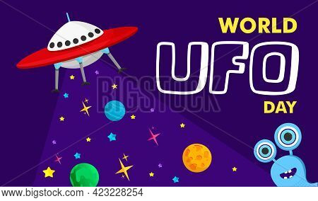 Vector Illustration Of A Ufo Plane, A Flying Saucer, With Stars And Humanoids. You Can Apply It To A