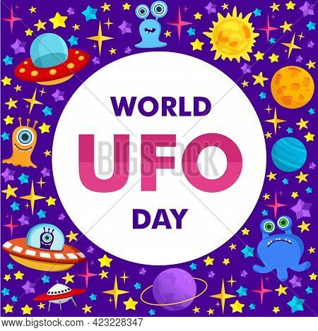 World Ufo Day. Vector Illustration Of A Ufo Plane, A Flying Saucer, With The Planet Saturn And Human
