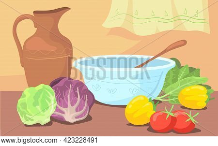 Ingredients For Salad And Bowl On Table Cartoon Illustration. Vintage Jug, Various Vegetables For Di