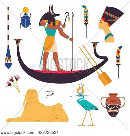 Egypt Symbols And Attributes With Nefertiti Bust, Anubis On Boat And Androsphinx Vector Set