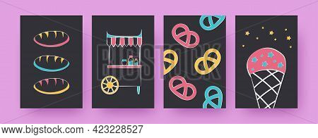 Collection Of Contemporary Art Posters With Bread And Bagels. Ice Cream, Jars On Stall Vector Illust