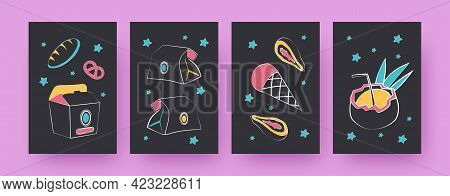 Collection Of Contemporary Posters With Treats In Paper Bags. Bread, Bagel, Ice Cream Vector Illustr