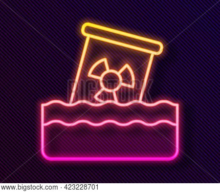 Glowing Neon Line Radioactive Waste In Barrel Icon Isolated On Black Background. Toxic Waste Contami